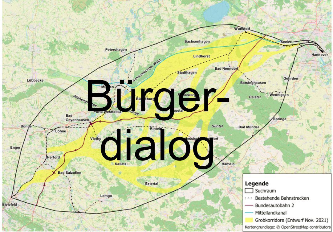 Neubaustrecke Bielefeld - Hannover Karte Bürgerdialog