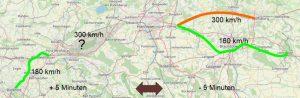Längere Fahrzeit westlich von Hannover, kürzere Fahrzeit östlich von Hannover